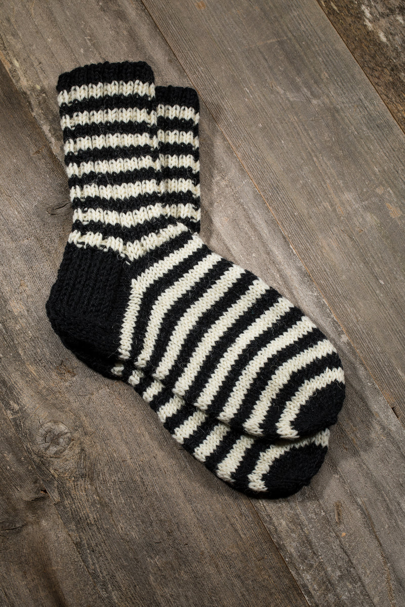 HAND KNITTED WOOL SOCKS, BLACK /WHITE STRIPE