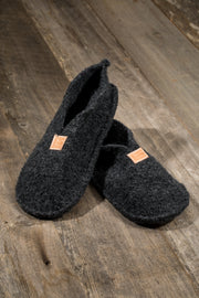 Boiled Wool Slippers, Charcoal