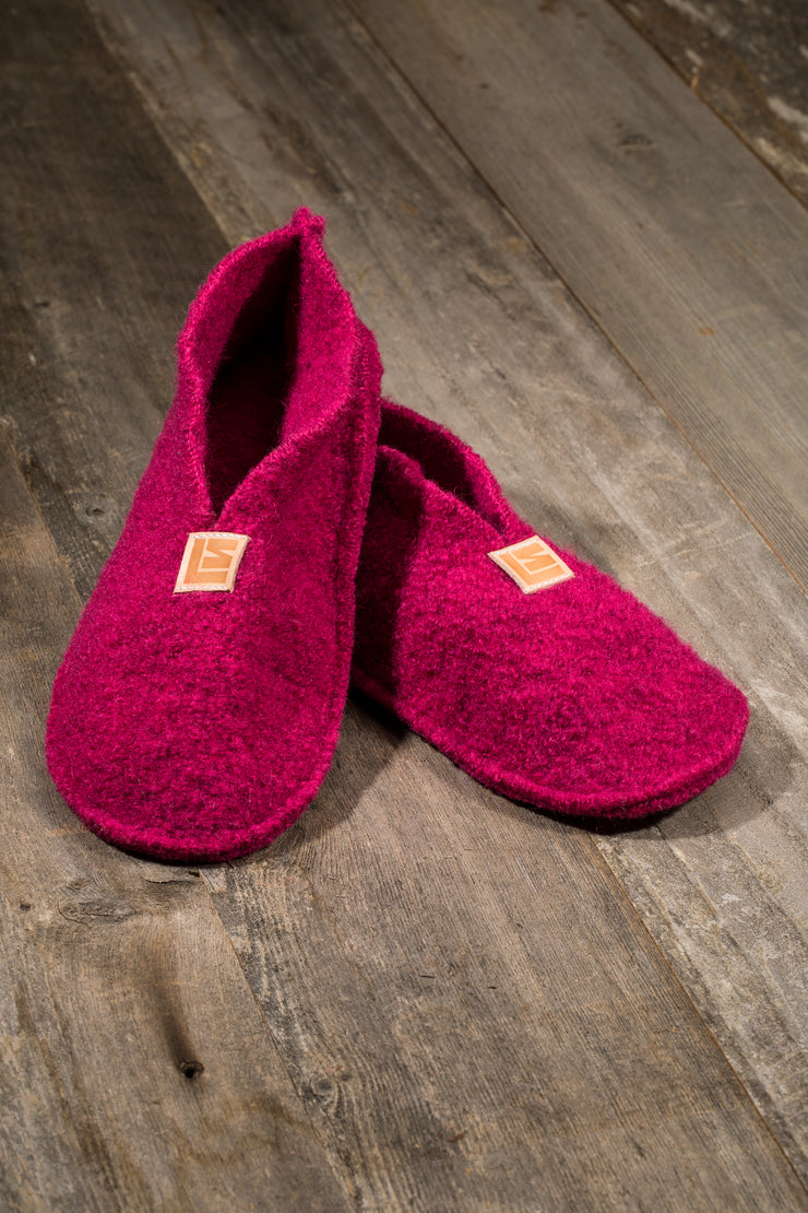 Boiled Wool Slippers, Fuschia