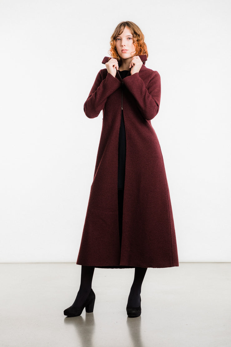 Loru Coat Boiled Wool, Maroon