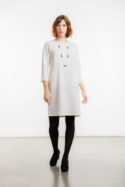 Neirone Viscose/ Wool Dress, Off White