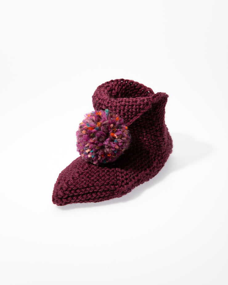 Hand Knitted Slippers, Bordeaux