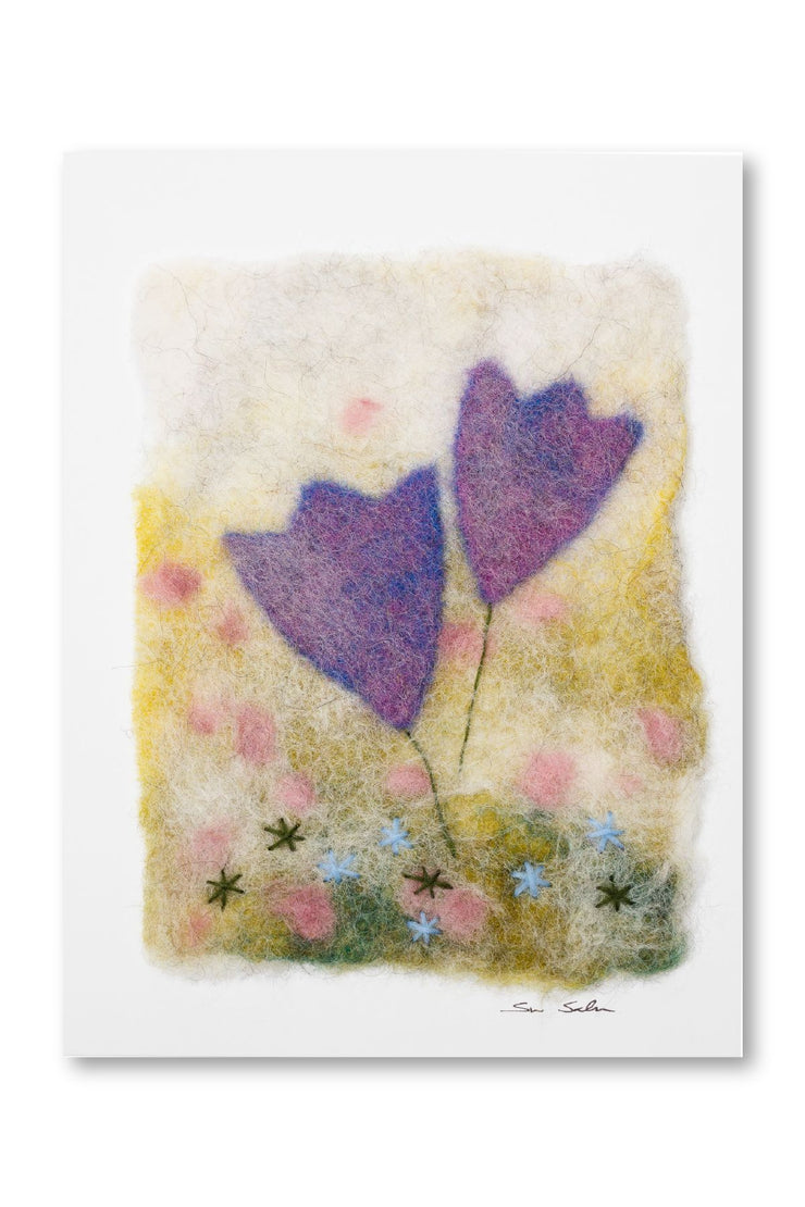 Finnish Felted Cards Blue Tulips