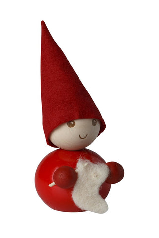FELTED ELF BOY, CHESTNUT COAT GARNET HAT