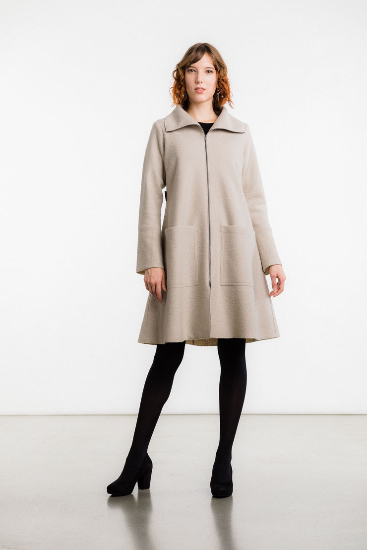 Rita Boiled Wool Coat, Pale