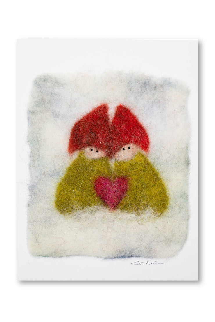 Finnish Felted Cards Two Elves Green