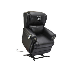 OAKLAND RAIDERS COACH LEATHER LIFT CHAIR