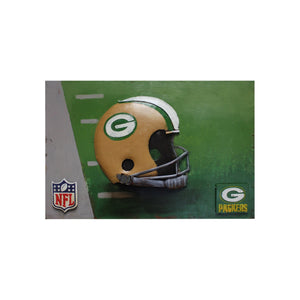 GREEN BAY PACKERS VINTAGE HAND CRA   ft.ED METAL WALL AR