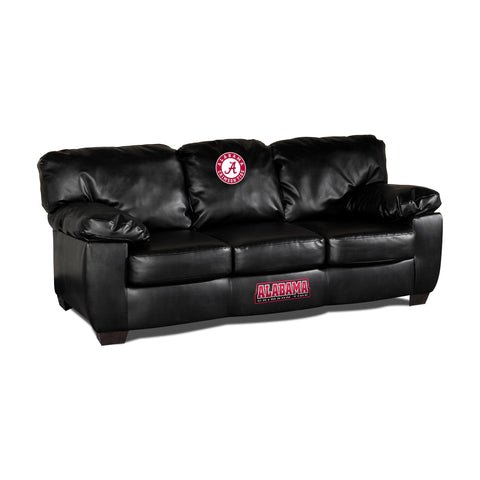 UNIVERSITY OF ALABAMA BLK LEATHER CLASSIC SOFA