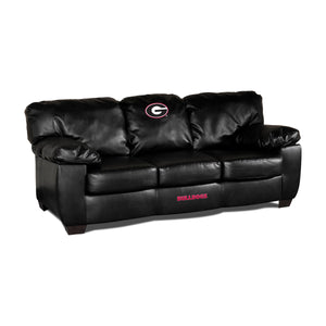 UNIVERSITY OF GEORGIA BLK LEATHER CLASSIC SOFA