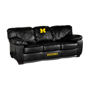 UNIVERSITY OF MICHIGAN BLK LEATHER CLASSIC SOFA