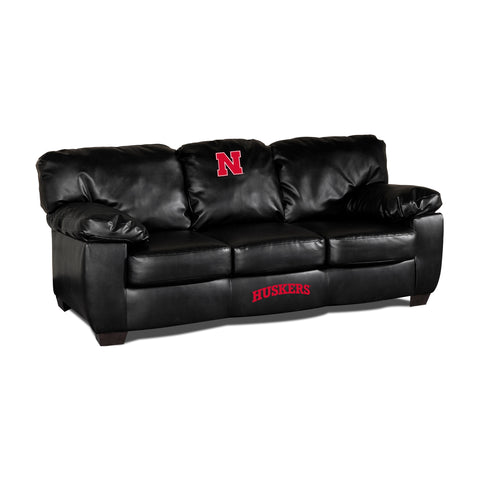 UNIVERSITY OF NEBRASKA BLK LEATHER CLASSIC SOFA