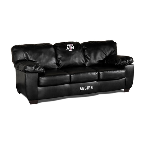 TEXAS A & M BLK LEATHER CLASSIC SOFA