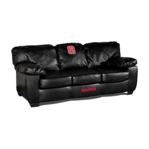 NORTH CAROLINA STATE UNIVERSITY BLK LEATHER CLASSIC SOFA