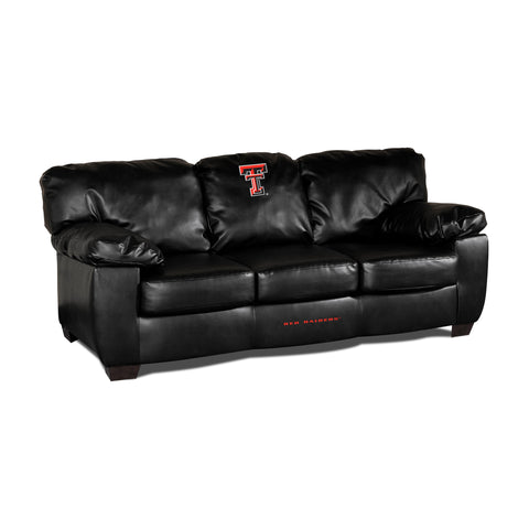 TEXAS TECH BLK LEATHER CLASSIC SOFA