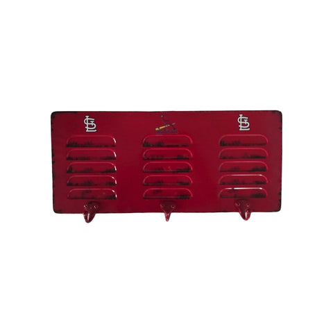 ST LOUIS CARDINALS 3 HOOK METAL LOCKER COAT RACK
