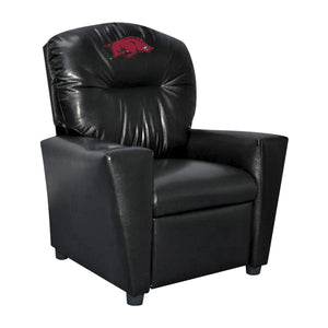 UNIVERSITY OF ARKANSAS FAUX LEATHER KIDS RECLINER