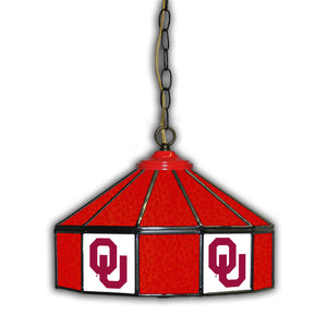 UNIVERSITY OF OKLAHOMA 14in. GLASS PUB LAMP