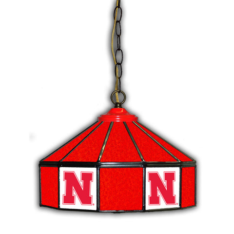 UNIVERSITY OF NEBRASKA 14in. GLASS PUB LAMP