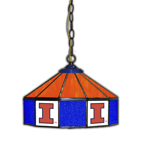 UNIVERSITY OF ILLINOIS 14in. GLASS PUB LAMP