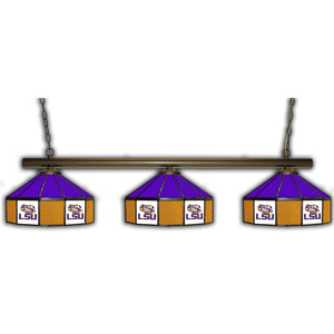 LOUISIANA STATE UNIVERSITY 3 SHADE GLASS LAMP