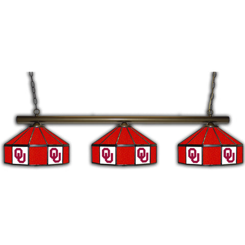 UNIVERSITY OF OKLAHOMA 3 SHADE GLASS LAMP