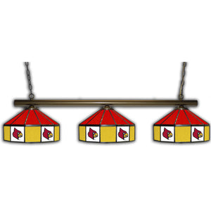 UNIVERSITY OF LOUISVILLE 3 SHADE GLASS LAMP