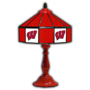UNIVERSITY OF WISCONSIN 21in. GLASS TABLE LAMP