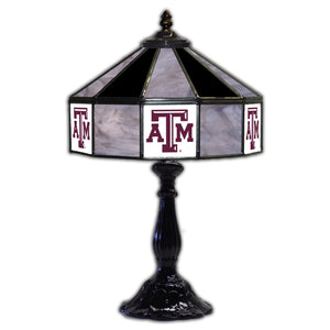 TEXAS A & M 21in. GLASS TABLE LAMP