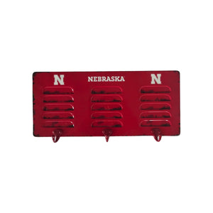 UNIVERSITY OF NEBRASKA 3 HOOK METAL COAT RACK