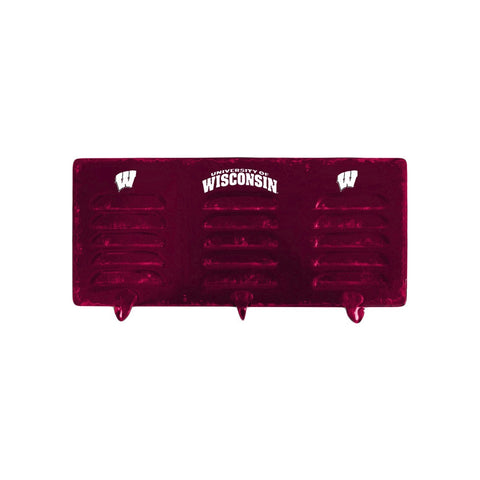 UNIVERSITY OF WISCONSIN 3 HOOK METAL COAT RACK