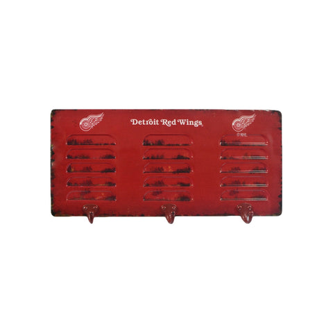 DETROIT REDWINGS 3 HOOK METAL LOCKER COAT RACK