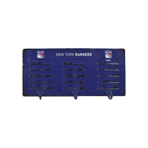 NEW YORK RANGERS 3 HOOK METAL LOCKER COAT RACK