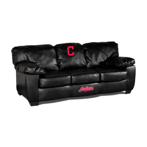 CLEVELAND INDIANS BLK LEATHER CLASSIC SOFA