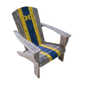 UNIVERSITY OF MICHIGAN WOODEN ADIRONDACK CHAIR