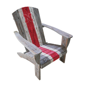 UNIVERSITY OF NEBRASKA WOODEN ADIRONDACK CHAIR