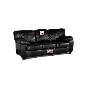 NEW YORK GIANTS BLACK LEATHER CLASSIC SOFA