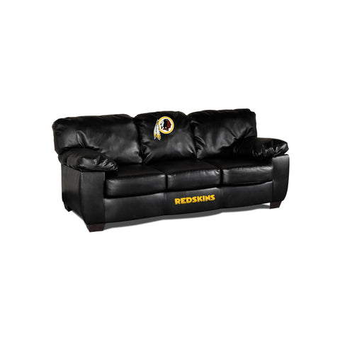 WASHINGTON REDSKINS BLACK LEATHER CLASSIC SOFA