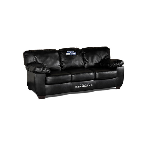 SEATTLE SEAHAWKS BLACK LEATHER CLASSIC SOFA