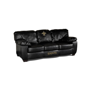 NEW ORLEANS SAINTS BLACK LEATHER CLASSIC SOFA