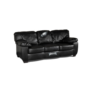 PHILADELPHIA EAGLES BLACK LEATHER CLASSIC SOFA