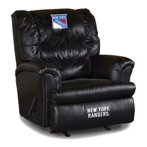 NEW YORK RANGERS BLACK LEATHER BIG DADDY RECLINER