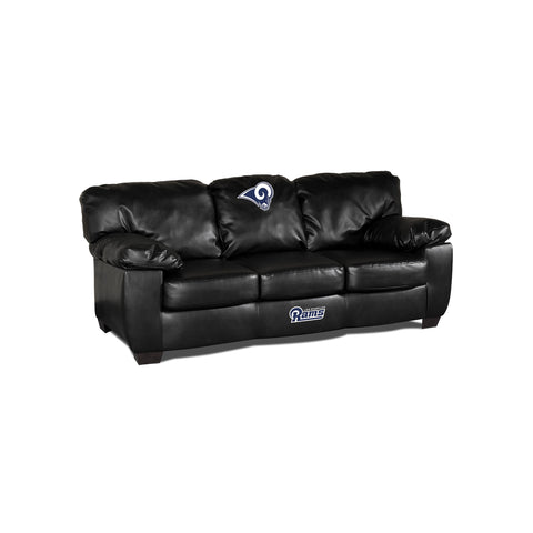 LOS ANGELES RAMS BLACK LEATHER CLASSIC SOFA