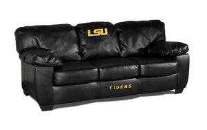 LOUISIANA STATE UNIVERSITY BLK LEATHER CLASSIC SOFA