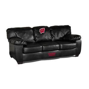 UNIVERSITY OF WISCONSIN BLK LEATHER CLASSIC SOFA