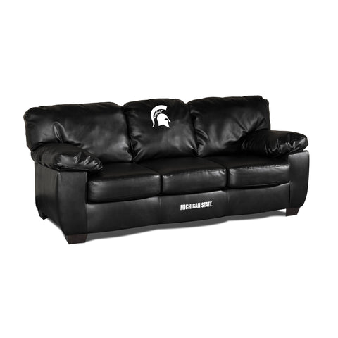 MICHIGAN STATE BLK LEATHER CLASSIC SOFA