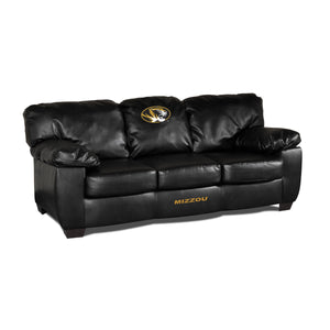 UNIVERSITY OF MISSOURI BLK LEATHER CLASSIC SOFA