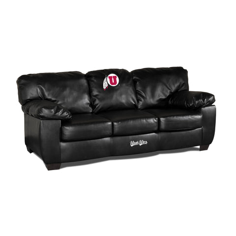 UNIVERSITY OF UTAH BLACK LEATHER CLASSIC SOFA