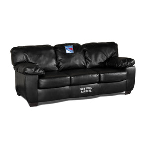NEW YORK RANGERS BLK LEATHER CLASSIC SOFA
