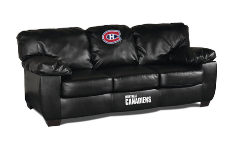 MONTREAL CANADIENS BLK LEATHER CLASSIC SOFA